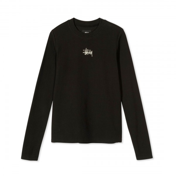 Women's Stussy Baby Rib Long Sleeve T-Shirt (Black)