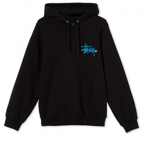 Women's Stussy Basic Logo Pullover Hooded Sweatshirt (Black)