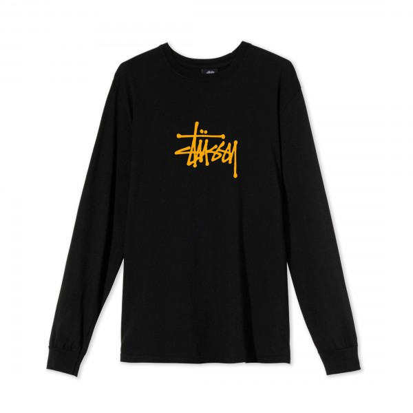 Women's Stussy Basic Pigment Dyed Long Sleeve T-Shirt (Black)