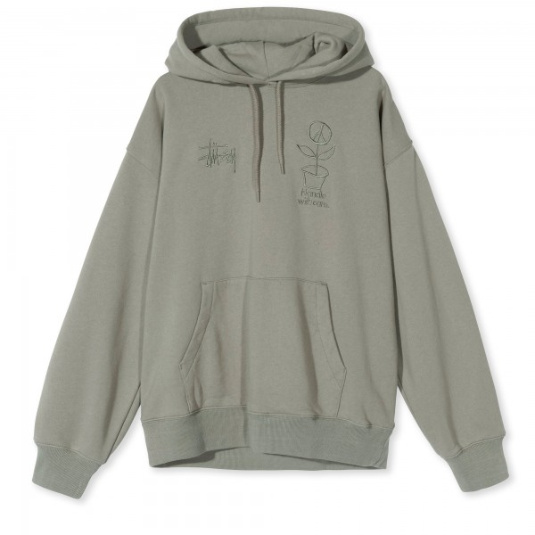 Women's Stussy Care Pullover Hooded Sweatshirt (Grey)