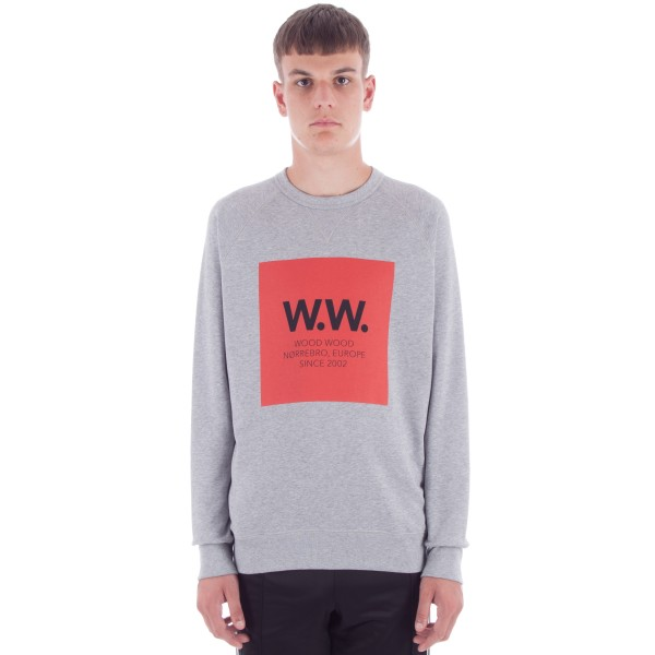 Wood Wood Hester Crew Neck Sweatshirt (Grey Melange)