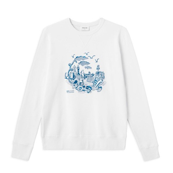 Wood Wood Hugh Crew Neck Sweatshirt (Bright White)
