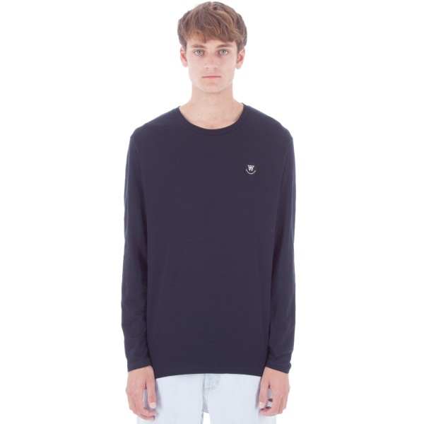 Wood Wood Peter Long Sleeve T-Shirt (Navy)