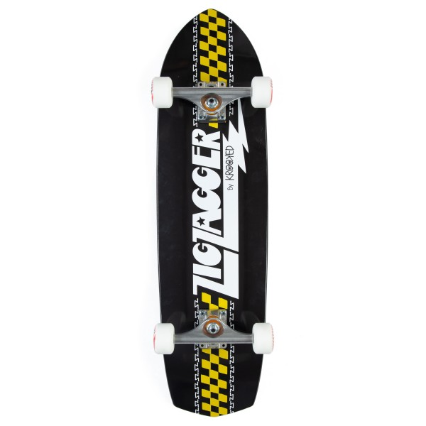"""Zip Zagger by Krooked Classic Cruiser Complete Skateboard 8.6"""" (Black/White)"""